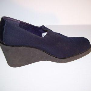 Donald J. Pliner Navy Slip Elastic Wedge Shoes 7.5